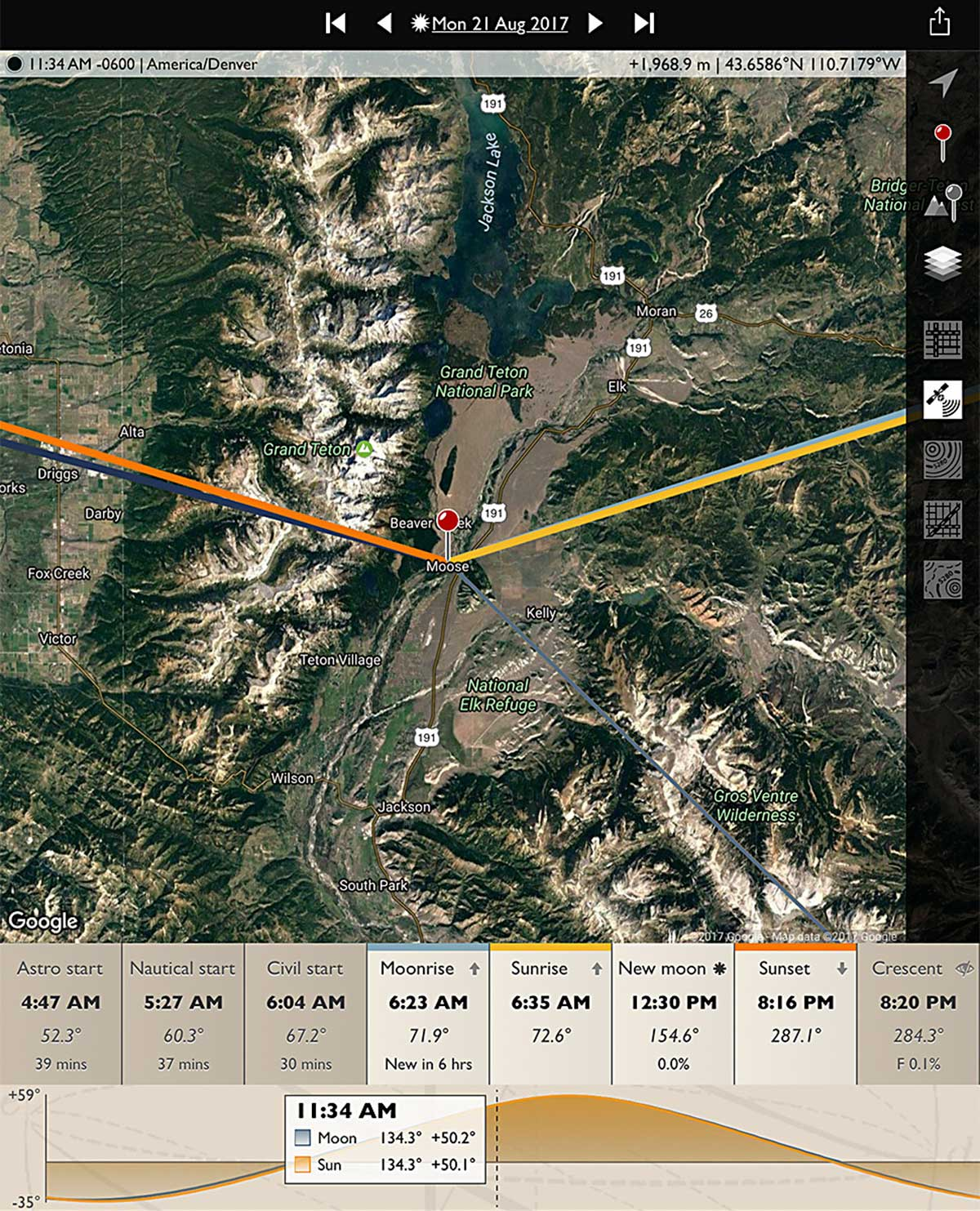 Map of Teton site of eclipse 2017 by Alan Dyer