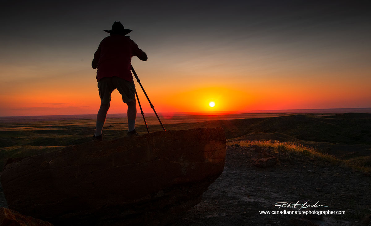 Photographer at Red Rock Coulee at sunset by Robert Berdan ©