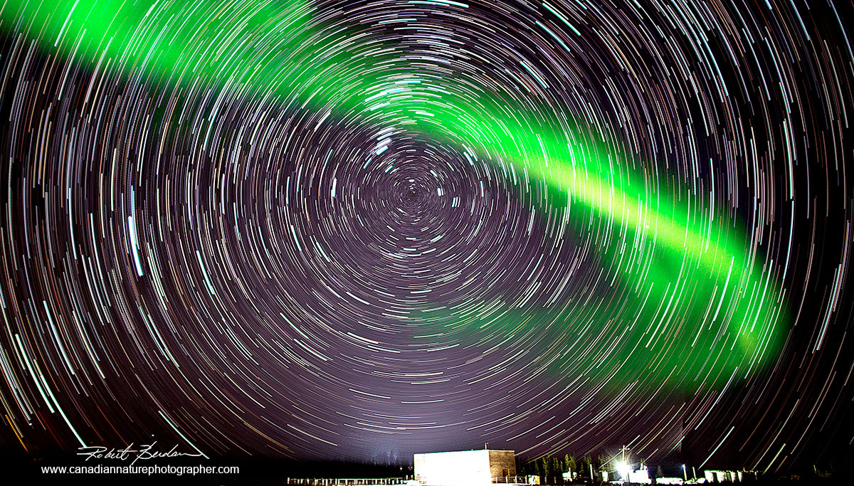 Composite image of star trails and Aurora Fort McMurray Robert Berdan ©