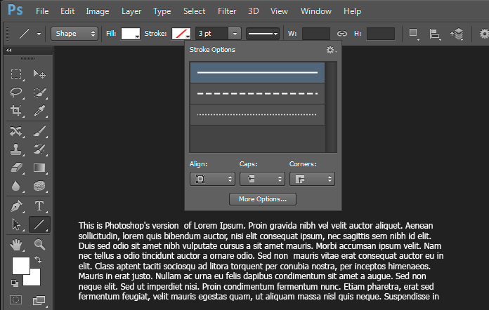 Screen shot showing how to add dashed lines in Adobe Photoshop CS6