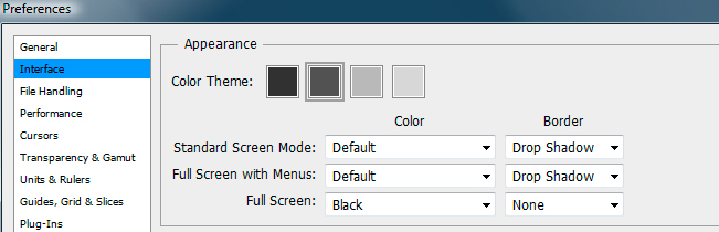 Adobe Photoshop preferences showing how to change the interface color