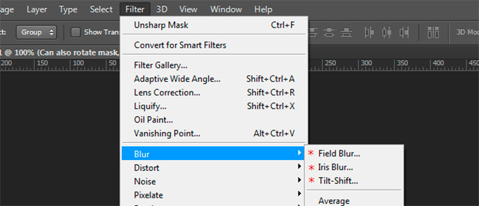 Screen shot of Adobe Photoshop CS6 showing new blurr filters