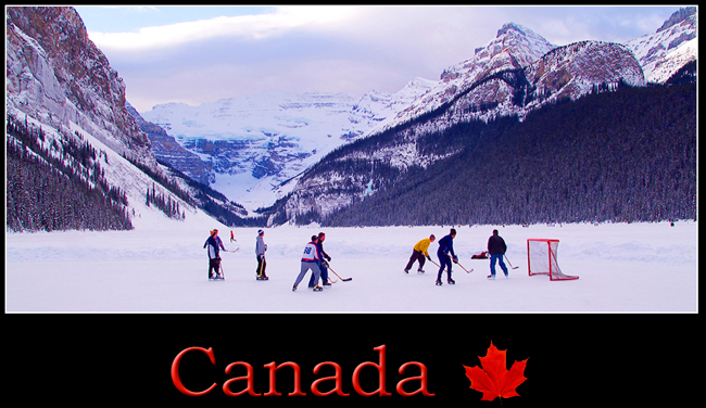 Pickup Hockey Game at Lake Louise by Robert Berdan ©
