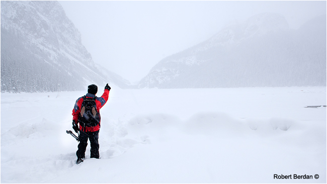 Photographer in winter at Lake Louise, AB by Robert Berdan ©