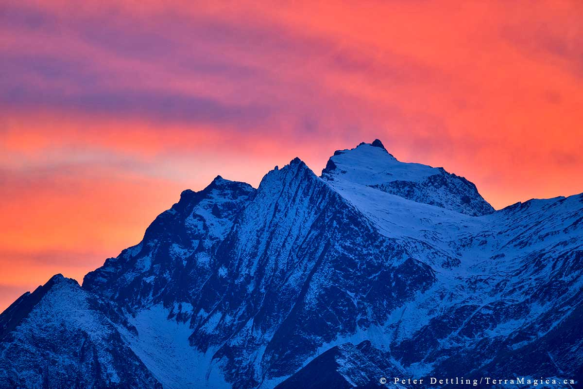 The 2880m high Piz Fess as seen from the Calanda Mountain at dusk by Peter A. Dettling ©