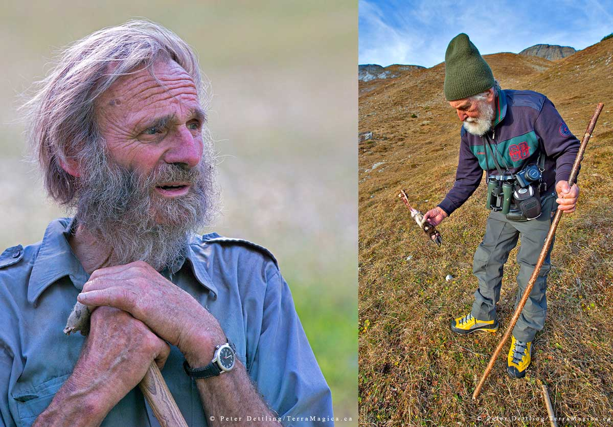 sheep farmer Lieni Schneller and Former game warden Georg Sutter by Peter A. Dettling ©