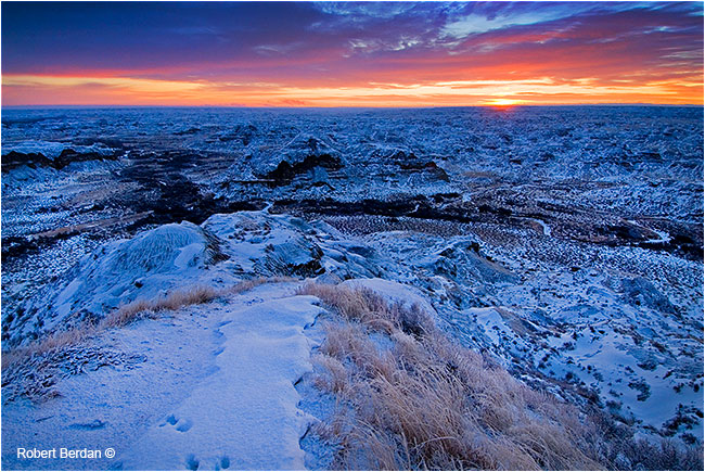 Sunrise Dinosaur Park in winter retouched by Robert Berdan ©