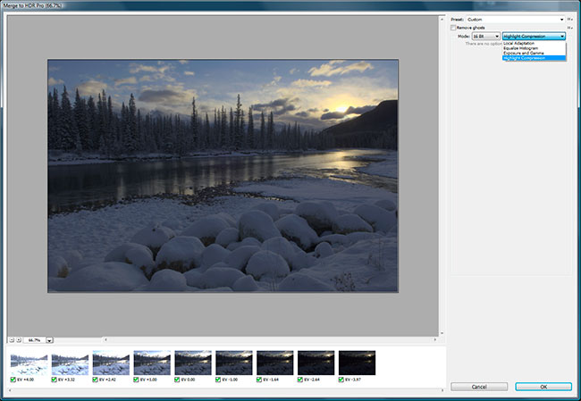Screen shot of Photoshop CS6 HDR pro by Robert Berdan ©