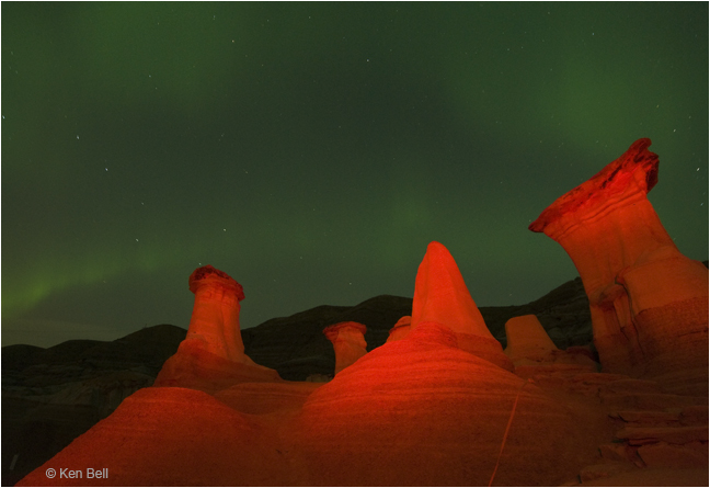 Hoodoos light painting and Aurora by Ken Bell ©