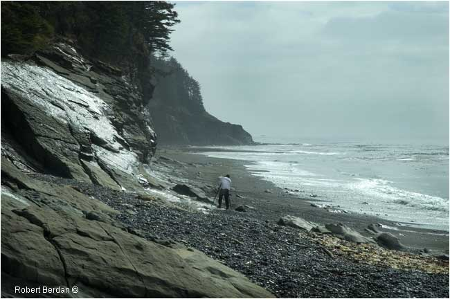 Beano Beach low tide, Nootka Trail with photographer by Robert Berdan ©