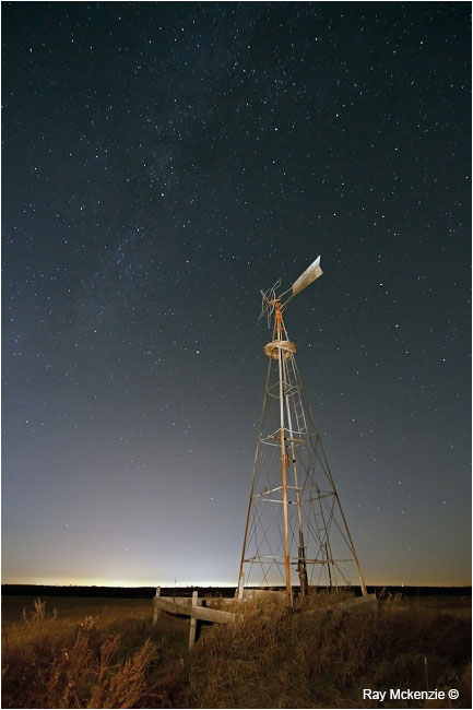 City's Edge -  broken windmill at night by Ray Mckenzie ©