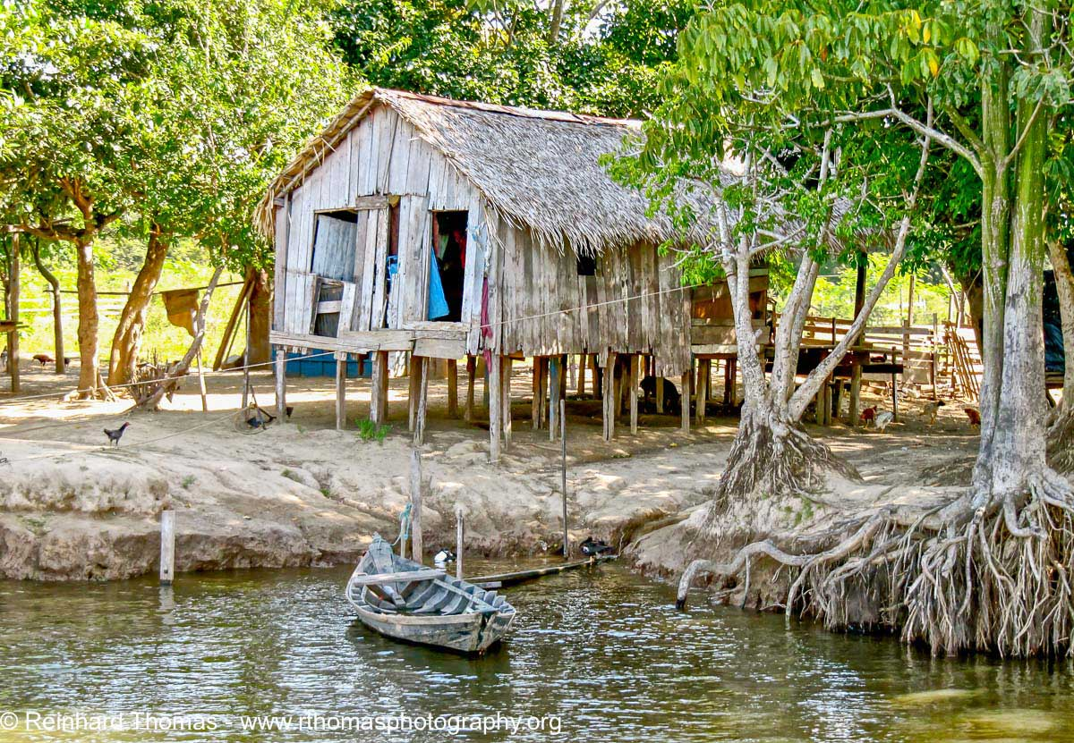 Typical modest home of the river dwellers in the Amazon by Reinhard Thomas ©