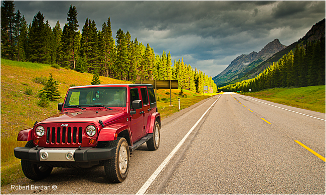 JEEP along highway 40 in Kananaskis Provincial Park, AB by Robert Berdan ©