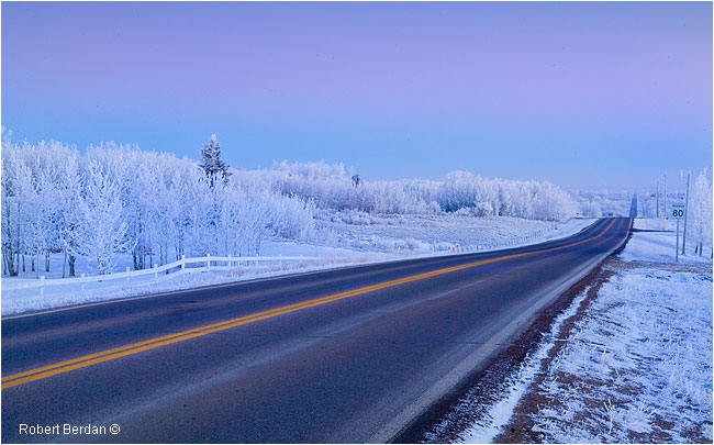 Bearspaw road around sunrise in winter by Robert Berdan ©