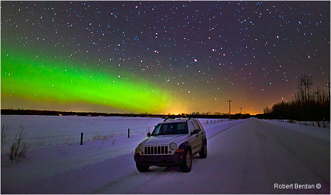 Aurora on backroad near Boyle, AB by Robert Berdan ©
