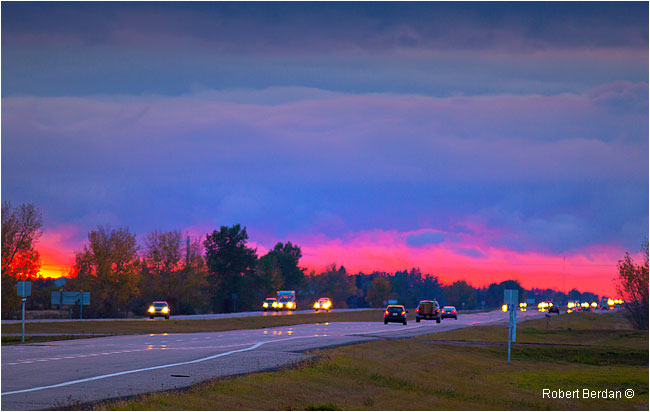 Highway 1 near Brandon Manitoba at sunset by Robert Berdan ©