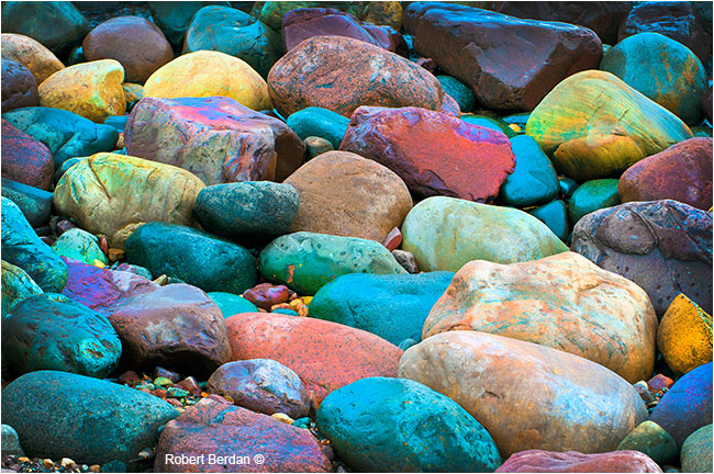 Coloured stones along Lake  Huron by Robert Berdan
