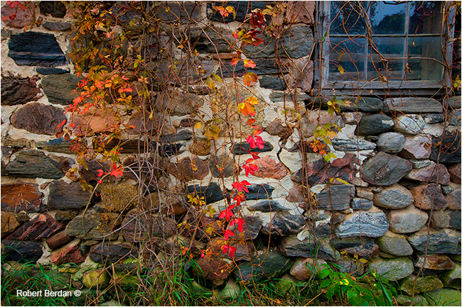 Stone wall on barn in Northern Ontario by Robert Berdan ©