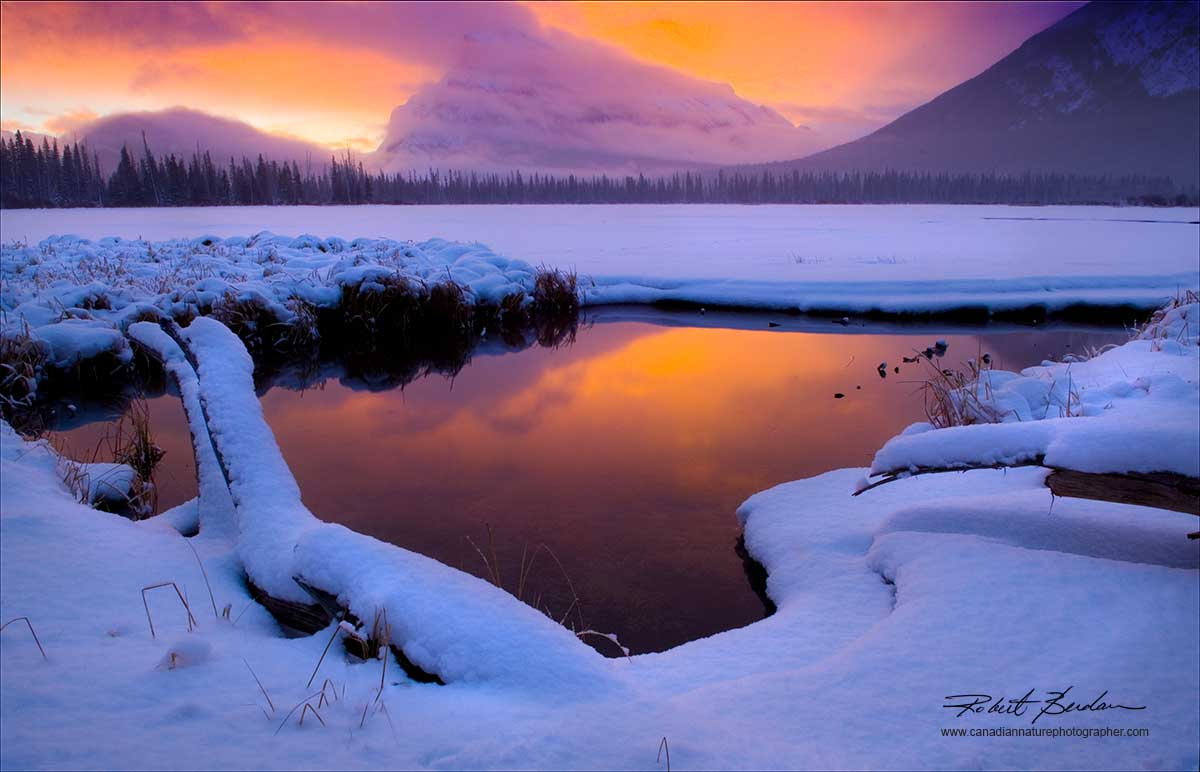 Sunrise at Vermilion Lake outside of Banff in Banff National Park in January by Robert Berdan ©