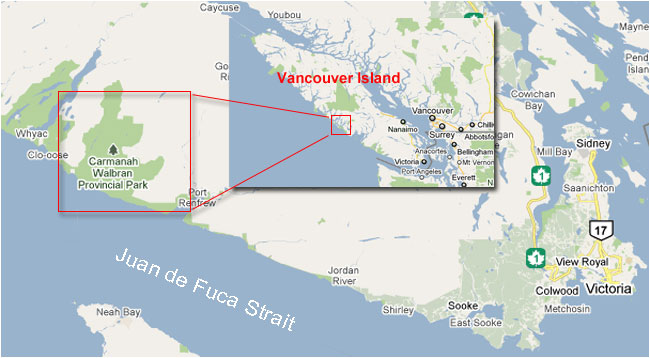 Map showing location of the Carmanah Valley on Vancouver Island