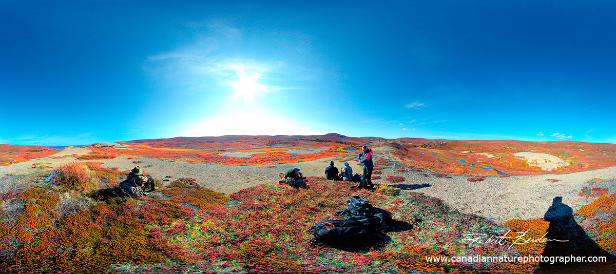 360 degree panorama from on top of an Esker at Esker Bay, Point Lake by Robert Berdan ©