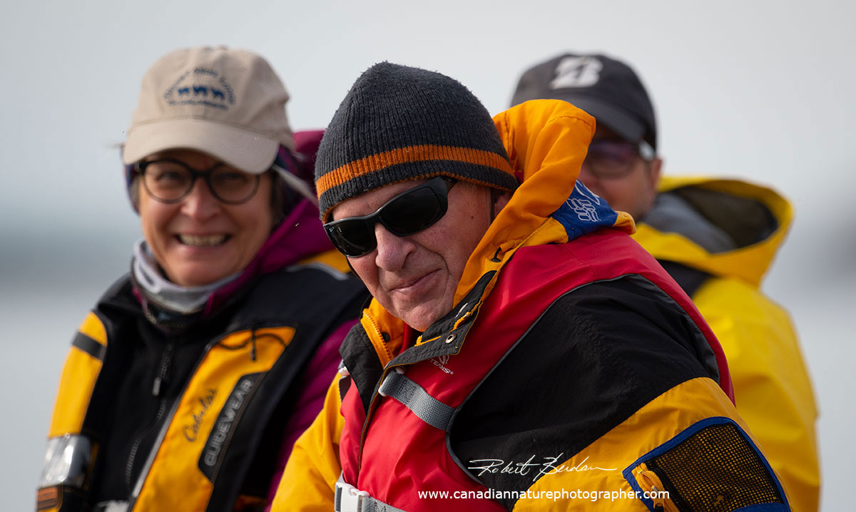 Guests on a boat touring Yellowknife Harbour  by Robert Berdan ©