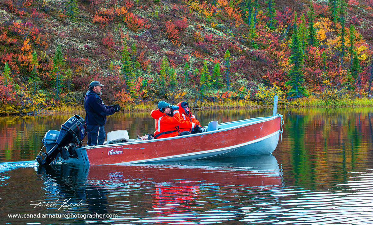 Searching for wildlife in a boat near Birthday Point by Robert Berdan ©