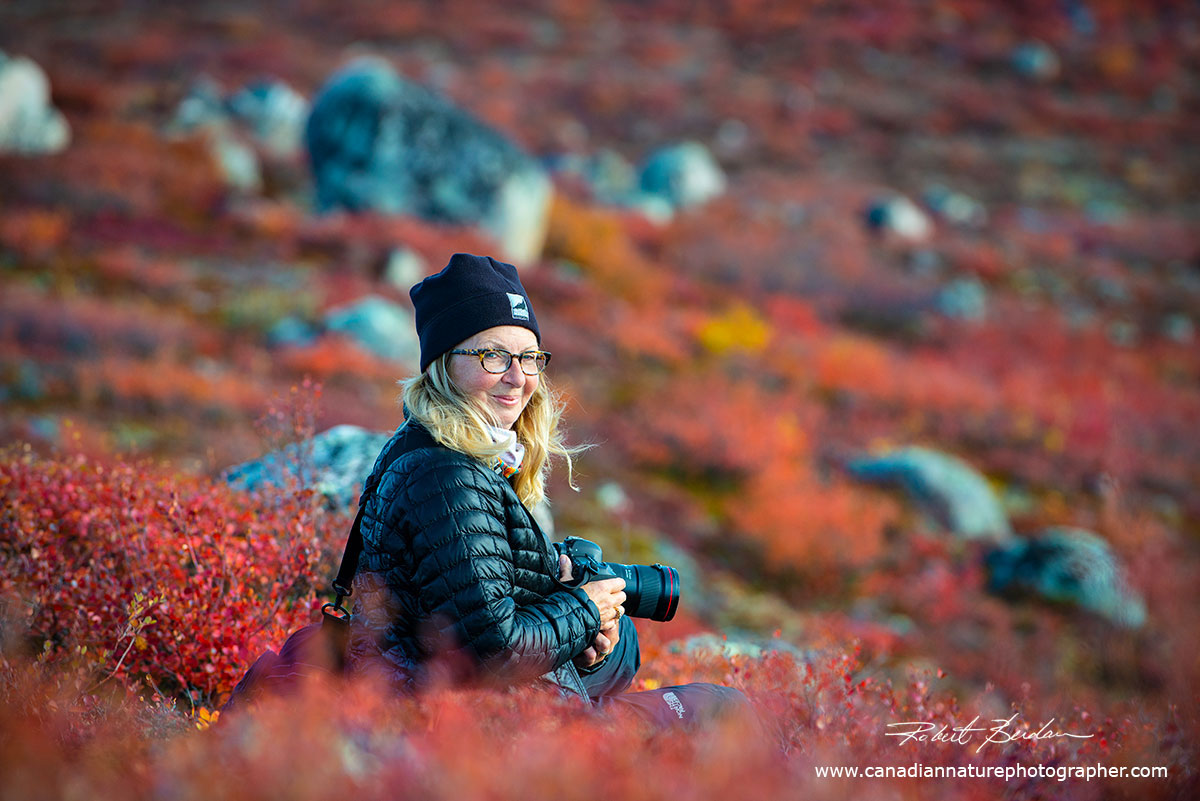 Cheryl Stewart pauses on the Tundra before taking some landscape photographs by Robert Berdan ©