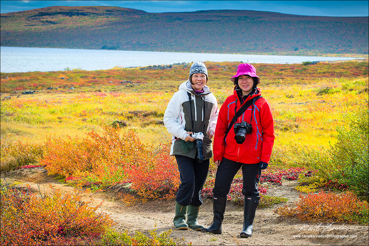 Two guests from Hong Kong on the tundra Petersons point lake llodge by Robert Berdan ©