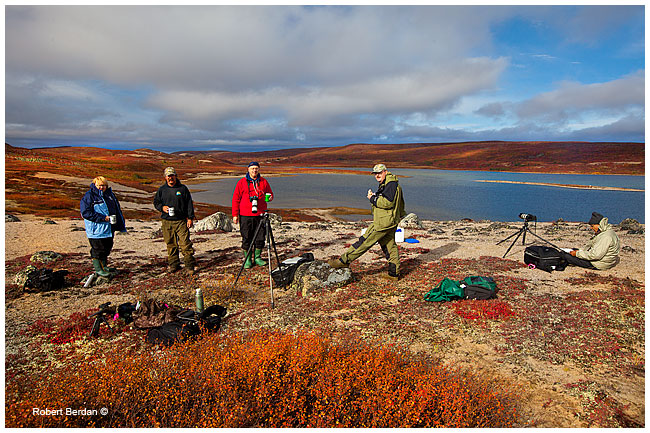 Photographers on Esker in Esker Bay off Point Laker, North West Territories by Robert Berdan ©