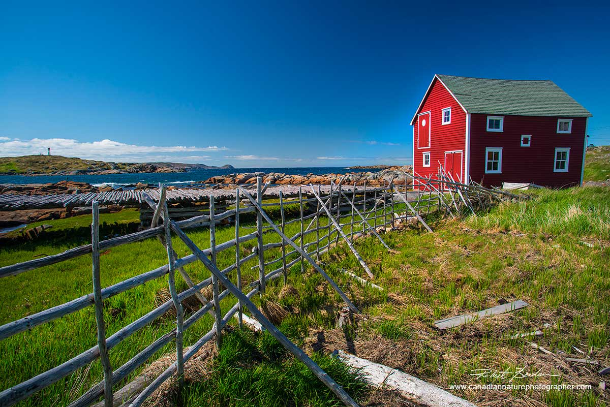 Above the red house also attracts they eye which the fence leads to - Twillingate, Newfoundland  by Robert Berdan ©