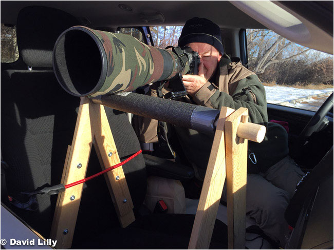 Home made telephoto lens support for Van by David Lilly ©