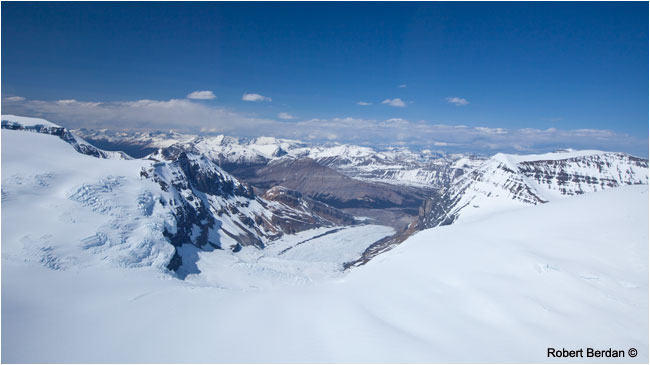 Athabasca Glacier and Columbia icefields from Helicopter by Robert Berdan ©