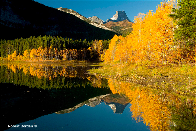 Wedge Pond in Autumn showing golden aspens by Robert Berdan ©