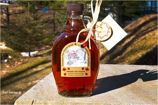 Pure maple syrup in a bottle by Karl Berdan ©