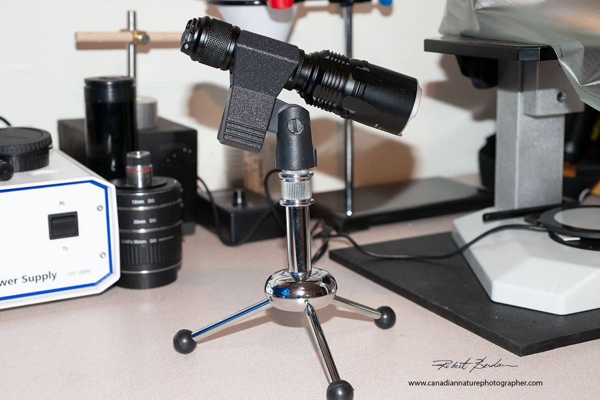 Nitecore Flashlight which provides up to 2800 lumen on a table top microphone stand by Robert Berdan ©