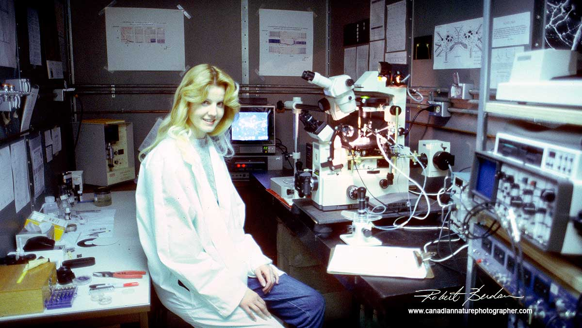 Donna Berdan in laboratory by Robert Berdan