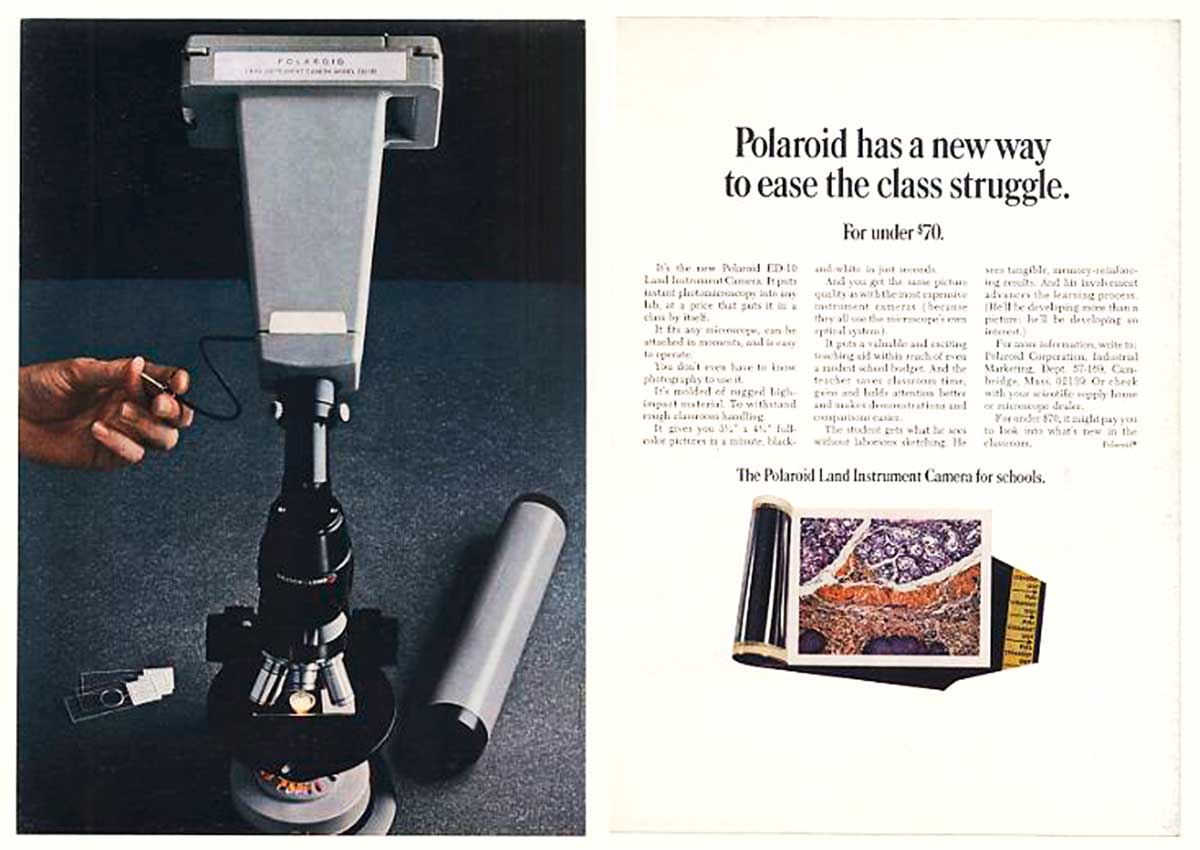 Polaroid ED-10 camera ad in Scientific American