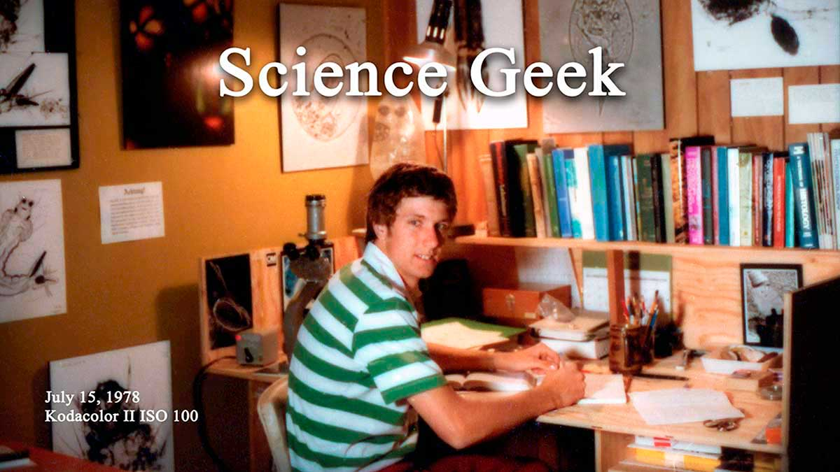 Robert Berdan in his garage microscopy laboratory - 1978