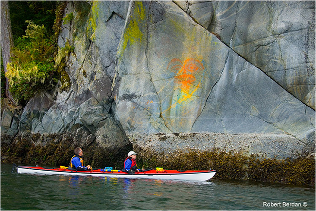Pictograph on the West Coast with kayakers by Robert Berdan ©