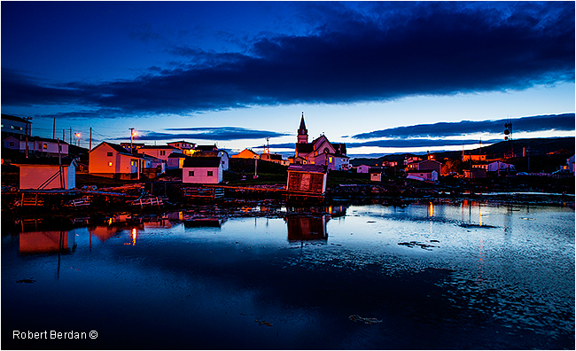 Fogo and church at night by Robert Berdan ©