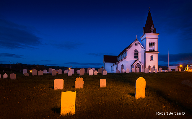 Church and cemetary in Fogo at night by Robert Berdan ©