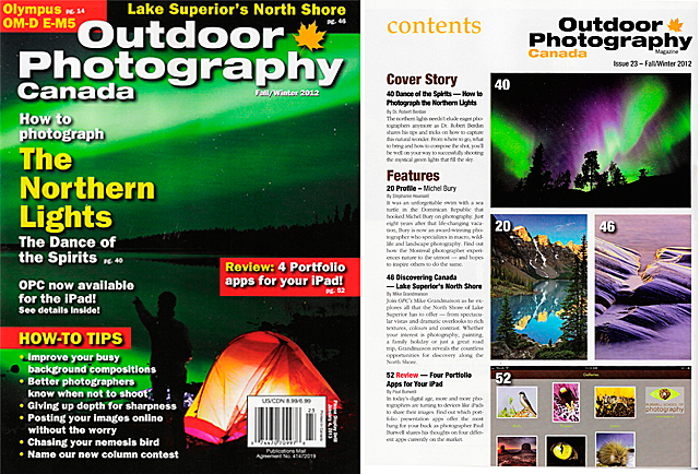 Outdoor Photography Canada Cover and article for Fall\Winter 2012