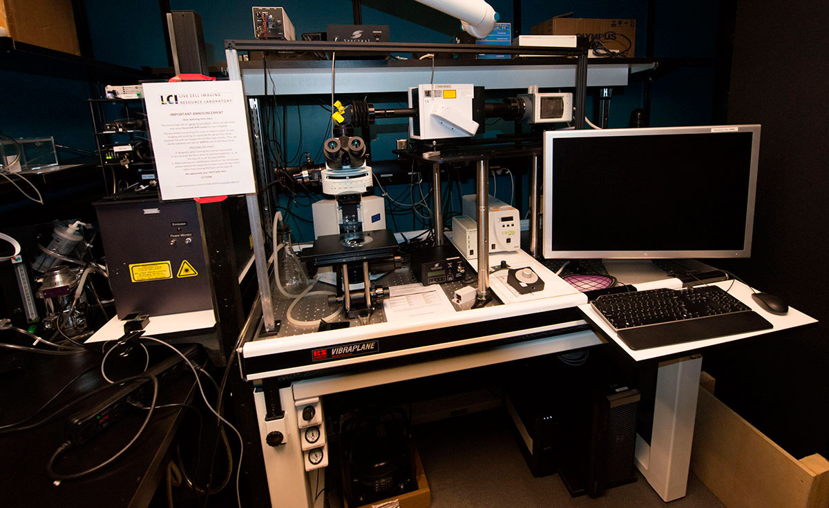 microscope set up at the Live Cell imaging facility at University of Calgary Health Science Center by Robert Berdan ©
