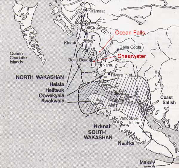 Map showing Ocean falls, Shearwater and Bella Coola
