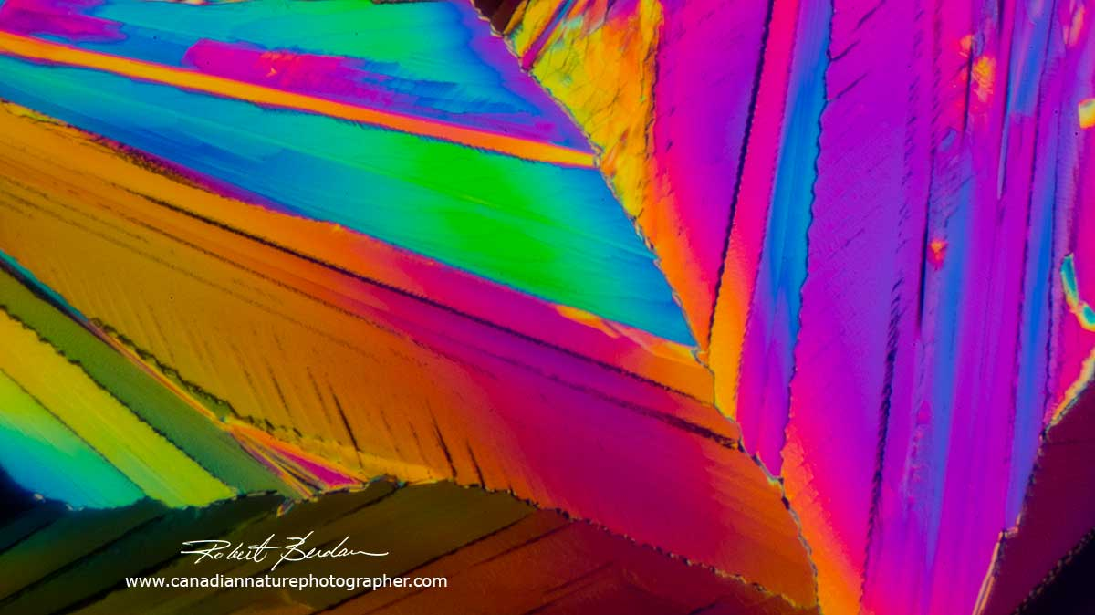 Citric acid crystals by Polarized light microscopy - Abstract art by Robert Berdan ©