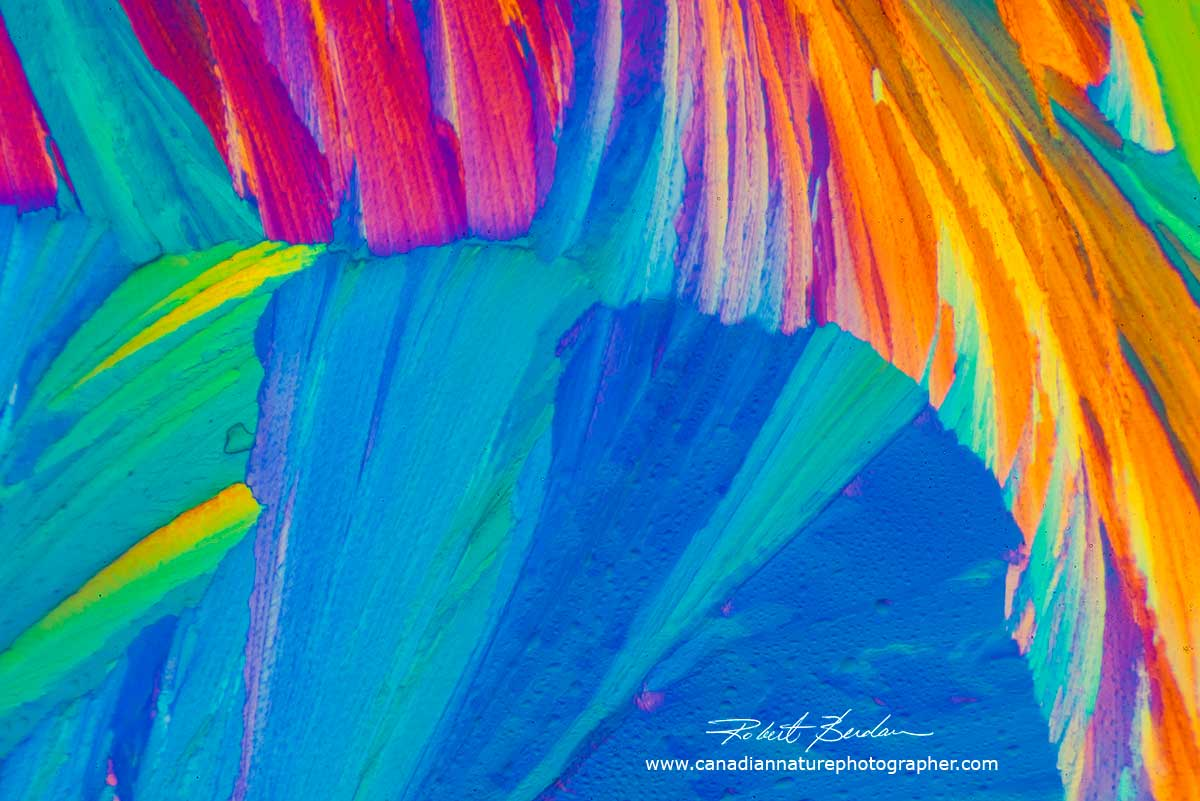 Citric acid crystals in polarized light - abstract by Robert Berdan ©