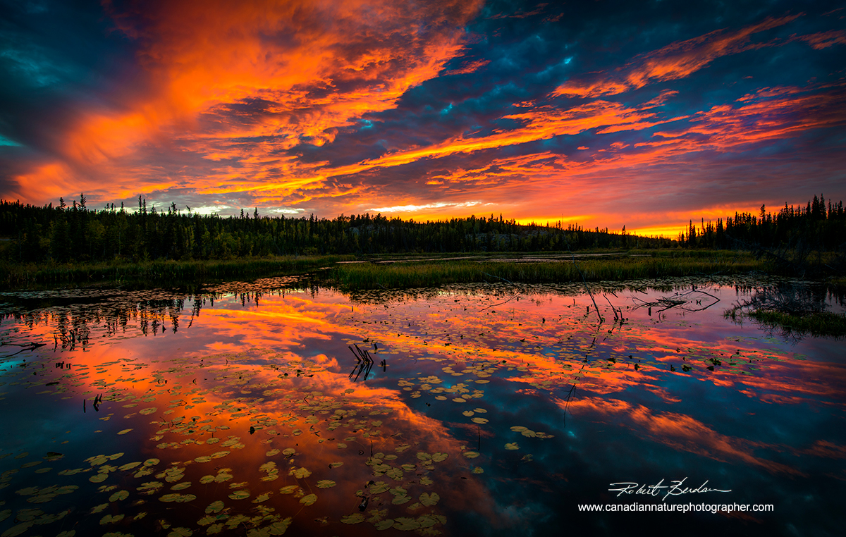 Sunset over pond next to the Ingraham Trail outside of Yellowknife, Northwest Territories by Robert Berdan ©