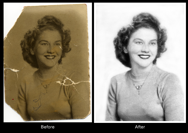 Women before restoration and after resotoration in Photoshop