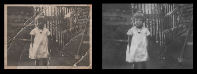 Before and after repair of images